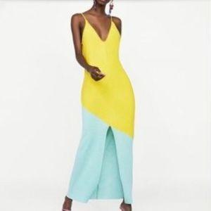 Zara pastel blue and yellow Flowy Dress